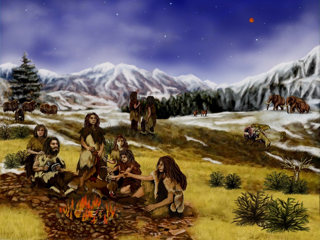 neanderthales en la hoguera, aromaterapia